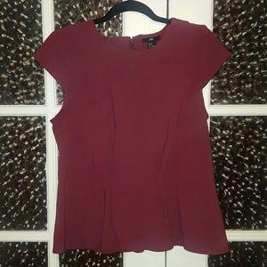H&M maroon peplum blouse